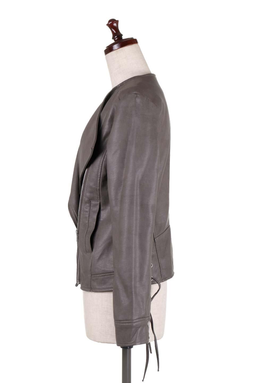 LaceUpBikersJacketレースアップ・ライダースジャケット大人カジュアルに最適な海外ファッションのothers(その他インポートアイテム)のアウターやジャケット。大きなリブの襟が特徴のニットコート。オーバーサイズ気味なデザインですが横に広がらず、それとは逆に体を細く見せるようなシルエット。/main-12