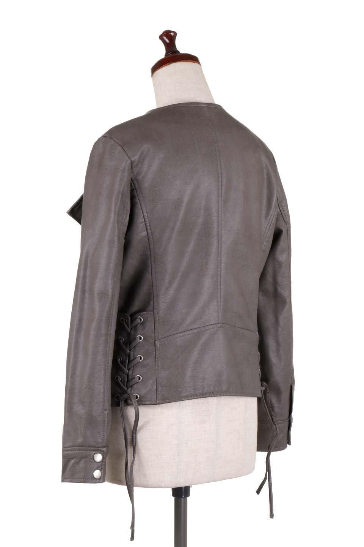 LaceUpBikersJacketレースアップ・ライダースジャケット大人カジュアルに最適な海外ファッションのothers(その他インポートアイテム)のアウターやジャケット。大きなリブの襟が特徴のニットコート。オーバーサイズ気味なデザインですが横に広がらず、それとは逆に体を細く見せるようなシルエット。/main-13