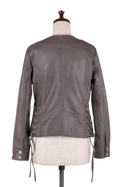 LaceUpBikersJacketレースアップ・ライダースジャケット大人カジュアルに最適な海外ファッションのothers(その他インポートアイテム)のアウターやジャケット。大きなリブの襟が特徴のニットコート。オーバーサイズ気味なデザインですが横に広がらず、それとは逆に体を細く見せるようなシルエット。/main-14