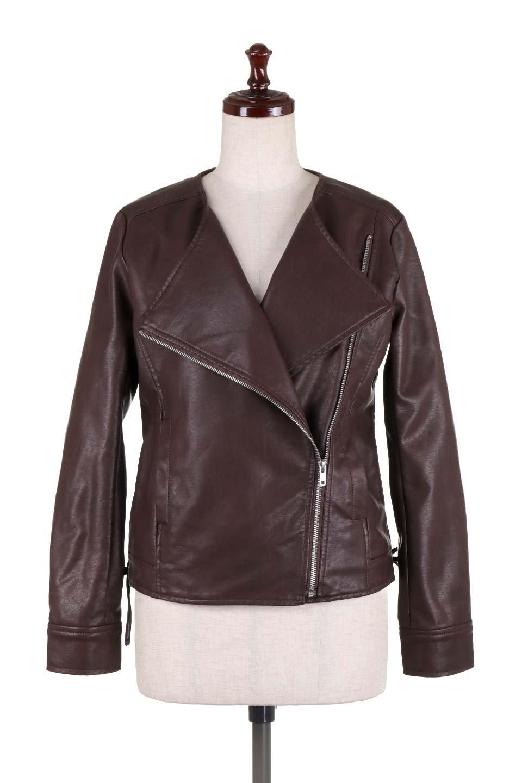 LaceUpBikersJacketレースアップ・ライダースジャケット大人カジュアルに最適な海外ファッションのothers(その他インポートアイテム)のアウターやジャケット。大きなリブの襟が特徴のニットコート。オーバーサイズ気味なデザインですが横に広がらず、それとは逆に体を細く見せるようなシルエット。/main-15