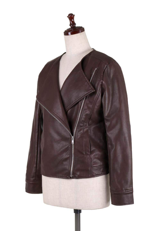 LaceUpBikersJacketレースアップ・ライダースジャケット大人カジュアルに最適な海外ファッションのothers(その他インポートアイテム)のアウターやジャケット。大きなリブの襟が特徴のニットコート。オーバーサイズ気味なデザインですが横に広がらず、それとは逆に体を細く見せるようなシルエット。/main-16