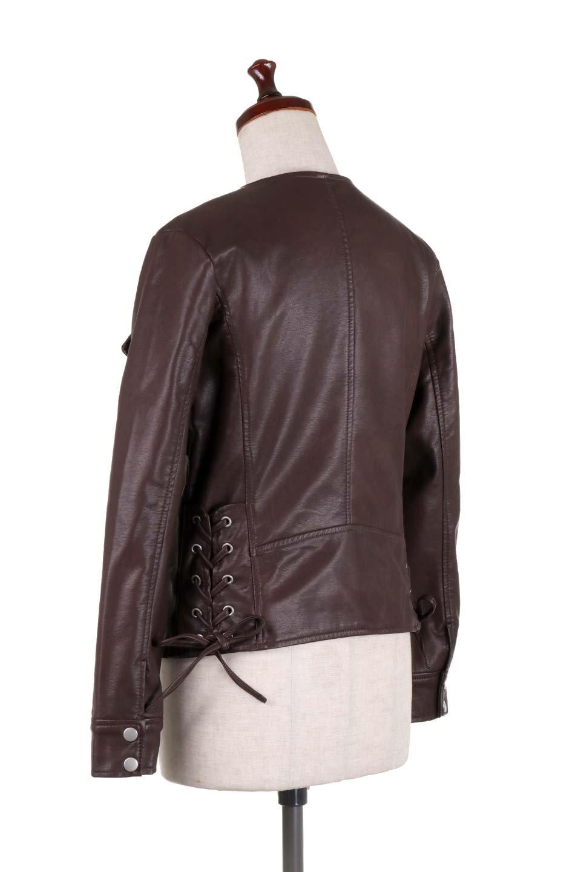 LaceUpBikersJacketレースアップ・ライダースジャケット大人カジュアルに最適な海外ファッションのothers(その他インポートアイテム)のアウターやジャケット。大きなリブの襟が特徴のニットコート。オーバーサイズ気味なデザインですが横に広がらず、それとは逆に体を細く見せるようなシルエット。/main-18