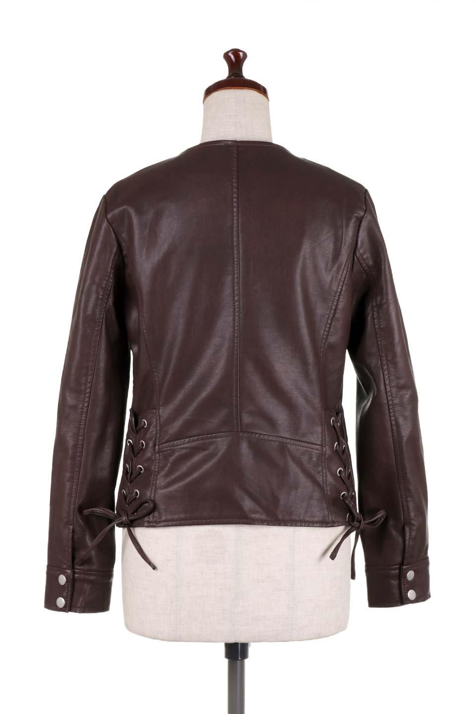 LaceUpBikersJacketレースアップ・ライダースジャケット大人カジュアルに最適な海外ファッションのothers(その他インポートアイテム)のアウターやジャケット。大きなリブの襟が特徴のニットコート。オーバーサイズ気味なデザインですが横に広がらず、それとは逆に体を細く見せるようなシルエット。/main-19