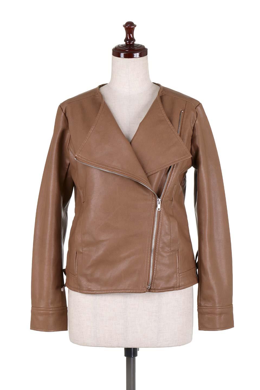 LaceUpBikersJacketレースアップ・ライダースジャケット大人カジュアルに最適な海外ファッションのothers(その他インポートアイテム)のアウターやジャケット。大きなリブの襟が特徴のニットコート。オーバーサイズ気味なデザインですが横に広がらず、それとは逆に体を細く見せるようなシルエット。/main-20
