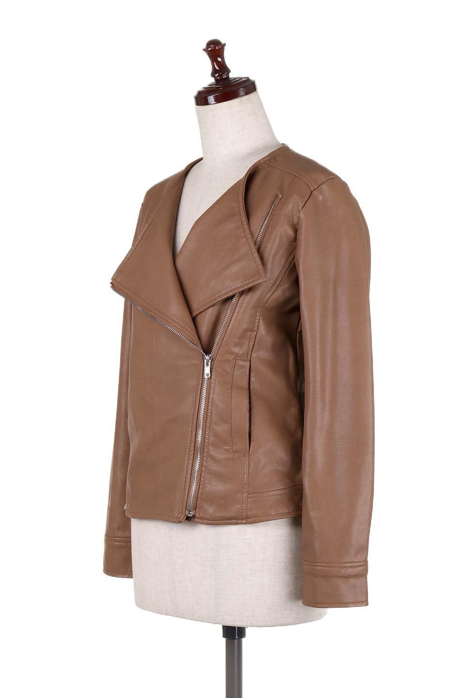 LaceUpBikersJacketレースアップ・ライダースジャケット大人カジュアルに最適な海外ファッションのothers(その他インポートアイテム)のアウターやジャケット。大きなリブの襟が特徴のニットコート。オーバーサイズ気味なデザインですが横に広がらず、それとは逆に体を細く見せるようなシルエット。/main-21