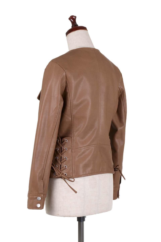 LaceUpBikersJacketレースアップ・ライダースジャケット大人カジュアルに最適な海外ファッションのothers(その他インポートアイテム)のアウターやジャケット。大きなリブの襟が特徴のニットコート。オーバーサイズ気味なデザインですが横に広がらず、それとは逆に体を細く見せるようなシルエット。/main-23
