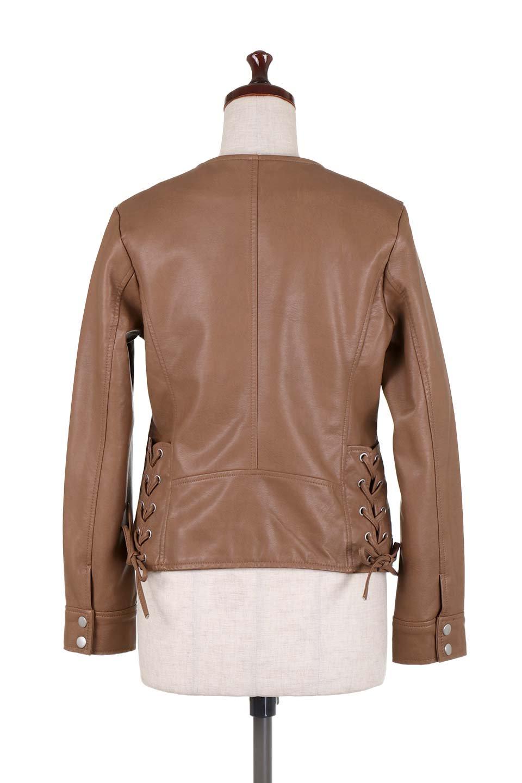LaceUpBikersJacketレースアップ・ライダースジャケット大人カジュアルに最適な海外ファッションのothers(その他インポートアイテム)のアウターやジャケット。大きなリブの襟が特徴のニットコート。オーバーサイズ気味なデザインですが横に広がらず、それとは逆に体を細く見せるようなシルエット。/main-24