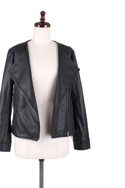 LaceUpBikersJacketレースアップ・ライダースジャケット大人カジュアルに最適な海外ファッションのothers(その他インポートアイテム)のアウターやジャケット。大きなリブの襟が特徴のニットコート。オーバーサイズ気味なデザインですが横に広がらず、それとは逆に体を細く見せるようなシルエット。/main-5