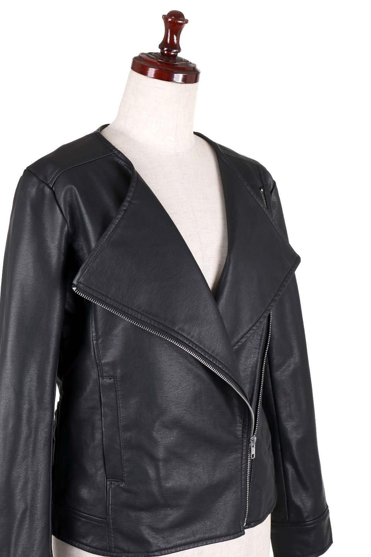 LaceUpBikersJacketレースアップ・ライダースジャケット大人カジュアルに最適な海外ファッションのothers(その他インポートアイテム)のアウターやジャケット。大きなリブの襟が特徴のニットコート。オーバーサイズ気味なデザインですが横に広がらず、それとは逆に体を細く見せるようなシルエット。/main-6
