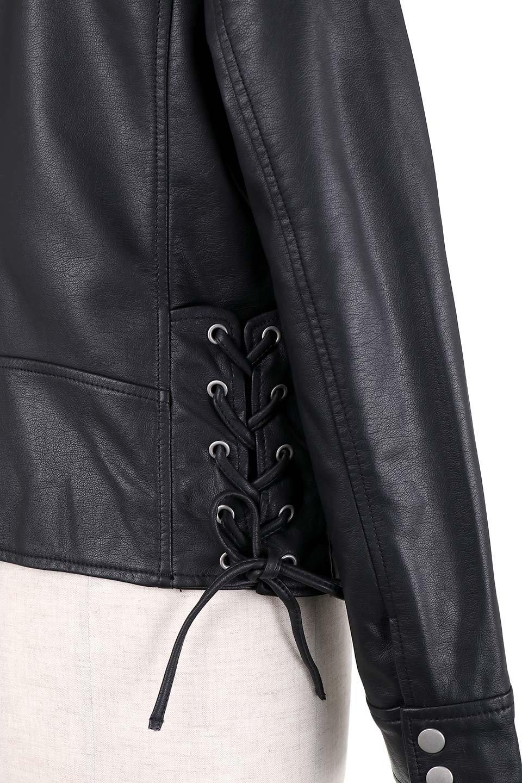 LaceUpBikersJacketレースアップ・ライダースジャケット大人カジュアルに最適な海外ファッションのothers(その他インポートアイテム)のアウターやジャケット。大きなリブの襟が特徴のニットコート。オーバーサイズ気味なデザインですが横に広がらず、それとは逆に体を細く見せるようなシルエット。/main-8