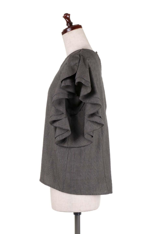 RuffleSleeveBlouseグレンチェックブラウス大人カジュアルに最適な海外ファッションのothers(その他インポートアイテム)のトップスやシャツ・ブラウス。今季注目のグレンチェックのアイテム。ヒラヒラのラッフルスリーブが可愛らしいブラウスです。/main-12