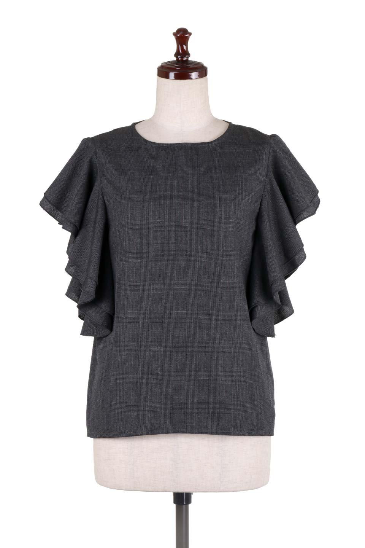 RuffleSleeveBlouseグレンチェックブラウス大人カジュアルに最適な海外ファッションのothers(その他インポートアイテム)のトップスやシャツ・ブラウス。今季注目のグレンチェックのアイテム。ヒラヒラのラッフルスリーブが可愛らしいブラウスです。/main-15