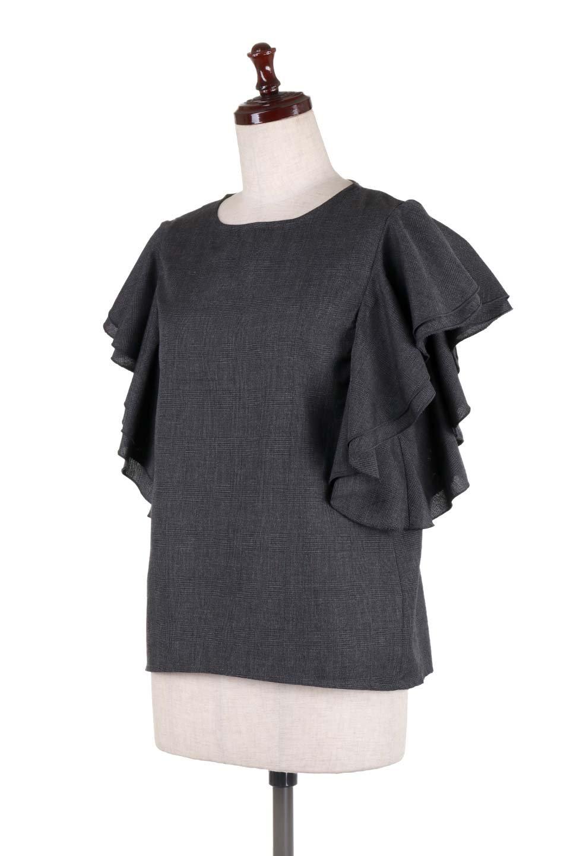 RuffleSleeveBlouseグレンチェックブラウス大人カジュアルに最適な海外ファッションのothers(その他インポートアイテム)のトップスやシャツ・ブラウス。今季注目のグレンチェックのアイテム。ヒラヒラのラッフルスリーブが可愛らしいブラウスです。/main-16