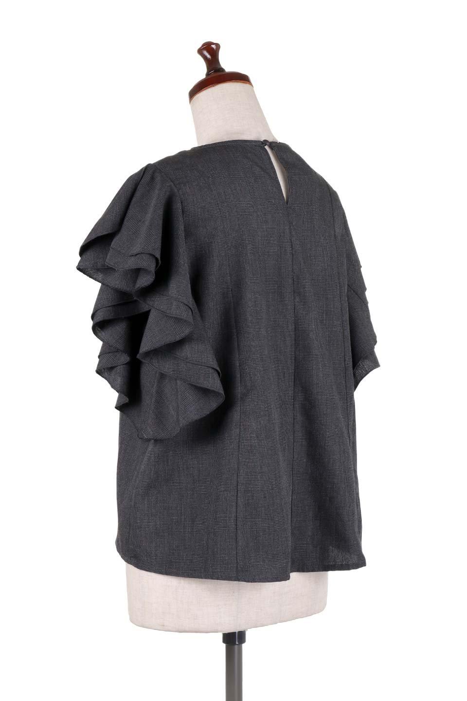 RuffleSleeveBlouseグレンチェックブラウス大人カジュアルに最適な海外ファッションのothers(その他インポートアイテム)のトップスやシャツ・ブラウス。今季注目のグレンチェックのアイテム。ヒラヒラのラッフルスリーブが可愛らしいブラウスです。/main-18