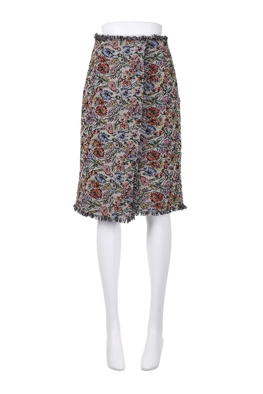 FringeSemiTightSkirt花柄ゴブラン織りスカート大人カジュアルに最適な海外ファッションのothers(その他インポートアイテム)のボトムやスカート。落ち着いた配色の花柄が可愛いセミタイトスカート。厚めの生地でタイト目のシルエットですがラップスカートなので窮屈さはあまりありません。/main-10