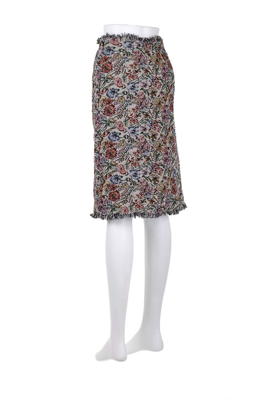 FringeSemiTightSkirt花柄ゴブラン織りスカート大人カジュアルに最適な海外ファッションのothers(その他インポートアイテム)のボトムやスカート。落ち着いた配色の花柄が可愛いセミタイトスカート。厚めの生地でタイト目のシルエットですがラップスカートなので窮屈さはあまりありません。/main-13