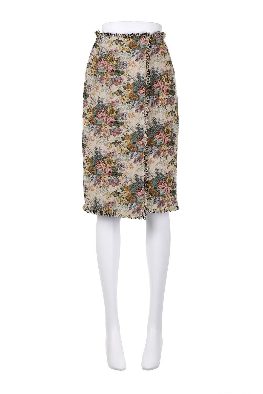 FringeSemiTightSkirt花柄ゴブラン織りスカート大人カジュアルに最適な海外ファッションのothers(その他インポートアイテム)のボトムやスカート。落ち着いた配色の花柄が可愛いセミタイトスカート。厚めの生地でタイト目のシルエットですがラップスカートなので窮屈さはあまりありません。/main-15