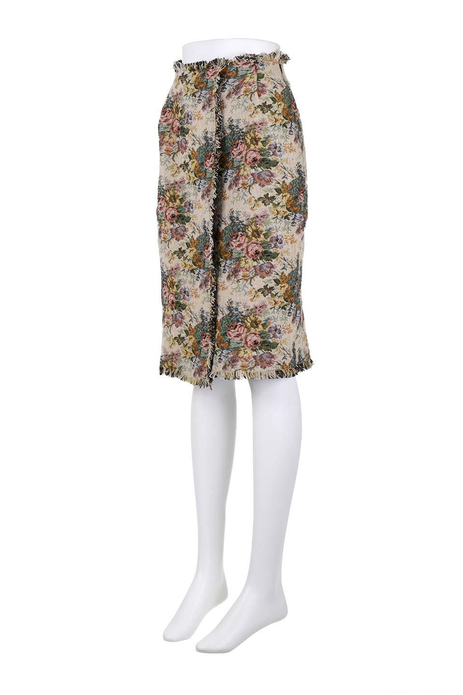 FringeSemiTightSkirt花柄ゴブラン織りスカート大人カジュアルに最適な海外ファッションのothers(その他インポートアイテム)のボトムやスカート。落ち着いた配色の花柄が可愛いセミタイトスカート。厚めの生地でタイト目のシルエットですがラップスカートなので窮屈さはあまりありません。/main-16