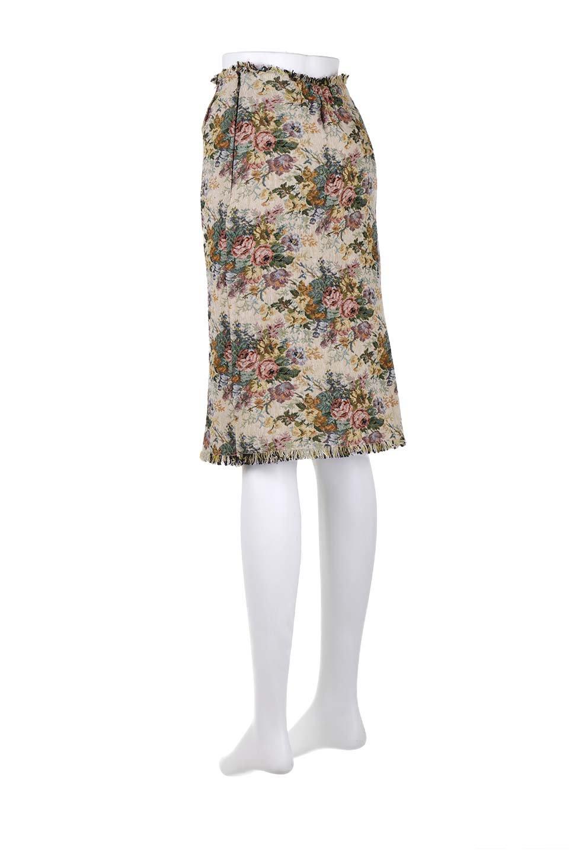 FringeSemiTightSkirt花柄ゴブラン織りスカート大人カジュアルに最適な海外ファッションのothers(その他インポートアイテム)のボトムやスカート。落ち着いた配色の花柄が可愛いセミタイトスカート。厚めの生地でタイト目のシルエットですがラップスカートなので窮屈さはあまりありません。/main-18