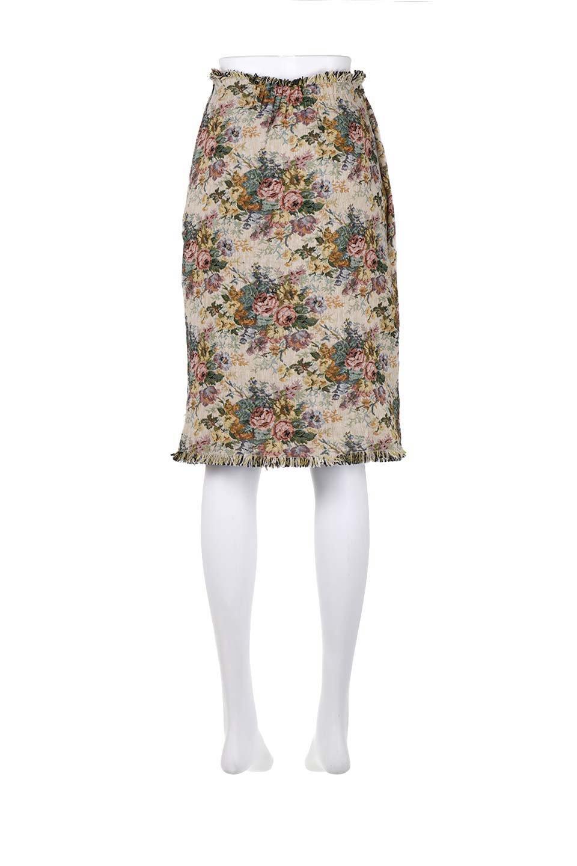 FringeSemiTightSkirt花柄ゴブラン織りスカート大人カジュアルに最適な海外ファッションのothers(その他インポートアイテム)のボトムやスカート。落ち着いた配色の花柄が可愛いセミタイトスカート。厚めの生地でタイト目のシルエットですがラップスカートなので窮屈さはあまりありません。/main-19