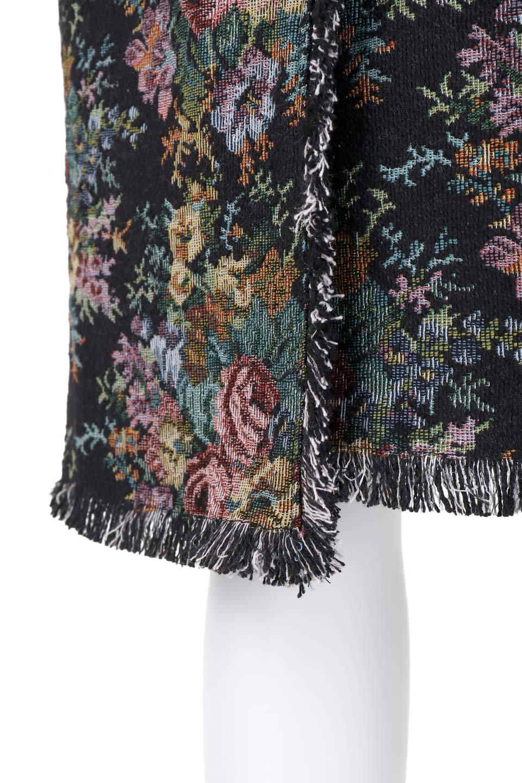 FringeSemiTightSkirt花柄ゴブラン織りスカート大人カジュアルに最適な海外ファッションのothers(その他インポートアイテム)のボトムやスカート。落ち着いた配色の花柄が可愛いセミタイトスカート。厚めの生地でタイト目のシルエットですがラップスカートなので窮屈さはあまりありません。/main-7