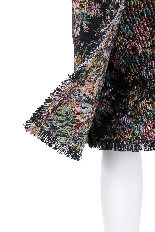 FringeSemiTightSkirt花柄ゴブラン織りスカート大人カジュアルに最適な海外ファッションのothers(その他インポートアイテム)のボトムやスカート。落ち着いた配色の花柄が可愛いセミタイトスカート。厚めの生地でタイト目のシルエットですがラップスカートなので窮屈さはあまりありません。/main-8