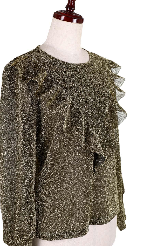 FrillTrimGlitterKnitTopラメニット・フリルブラウス大人カジュアルに最適な海外ファッションのothers(その他インポートアイテム)のトップスやシャツ・ブラウス。レトロな雰囲気のフリルブラウス。シックで落ち着いたトーンのゴールドがゴージャス感とレトロ感を醸し出します。/main-5
