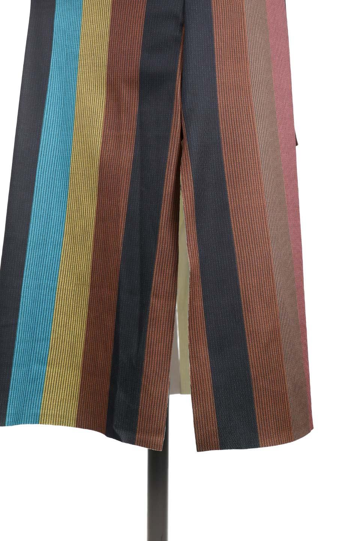MulticolorStripeTieWaistDressマルチストライプ・レトロワンピース大人カジュアルに最適な海外ファッションのothers(その他インポートアイテム)のワンピースやミディワンピース。大ぶりなマルチストライプが可愛いミディワンピース。若干光沢のある生地がシックなイメージのアイテム。/main-7