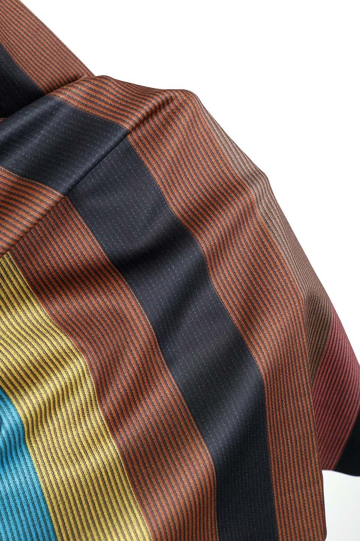 MulticolorStripeTieWaistDressマルチストライプ・レトロワンピース大人カジュアルに最適な海外ファッションのothers(その他インポートアイテム)のワンピースやミディワンピース。大ぶりなマルチストライプが可愛いミディワンピース。若干光沢のある生地がシックなイメージのアイテム。/main-9