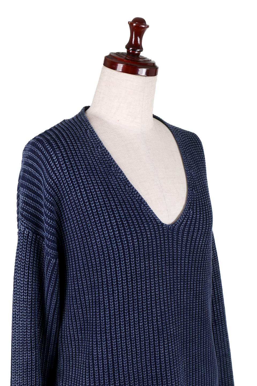 WashedV-neckPulloverウォッシュ加工・Vネックセーター大人カジュアルに最適な海外ファッションのothers(その他インポートアイテム)のトップスやニット・セーター。シンプルデザインのVネックのルーズセーター。ウォッシュ加工が魅力のこのセーターは、コットンなので春先まで楽しめます。/main-5