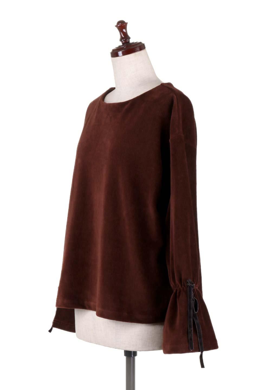 FineCorduroySoftTopリボンスリーブ・コーデュロイトップス大人カジュアルに最適な海外ファッションのothers(その他インポートアイテム)のトップスやシャツ・ブラウス。ベロアの様な柔らかさの細うねコーデュロイのトップス。適度なルーズさと着丈の長さでボトムの合わせに困る事はなさそうです。/main-11