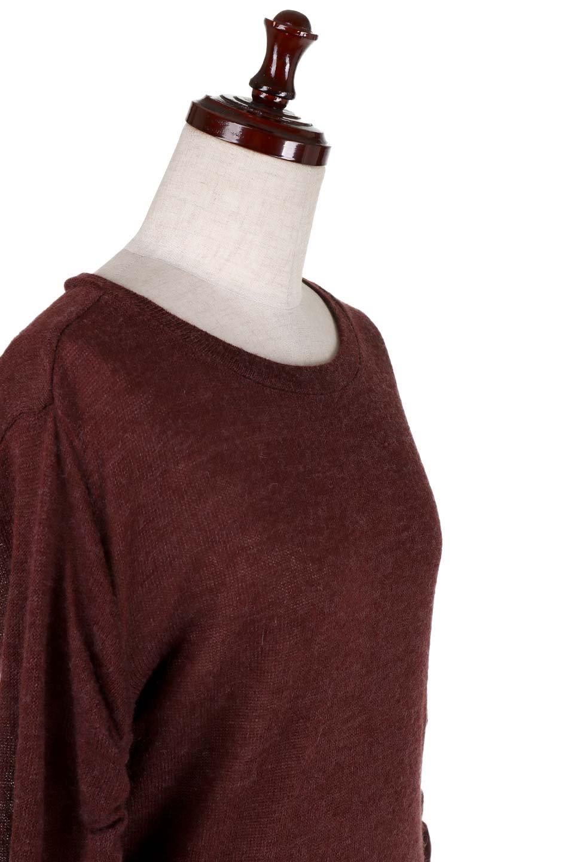 GatheredSleeveKnitTopギャザースリーブニット大人カジュアルに最適な海外ファッションのothers(その他インポートアイテム)のトップスやニット・セーター。キュッと絞れるギャザースリーブが魅力のニット。ヒモを完全に緩めればパフスリーブで楽しめます。/main-5