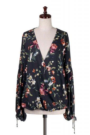 海外ファッション好きのためのカリフォルニアテイストの大人カジュアルインポートブランドLOVESTITCH(ラブステッチ)のAlisha Top 花柄長袖ブラウス