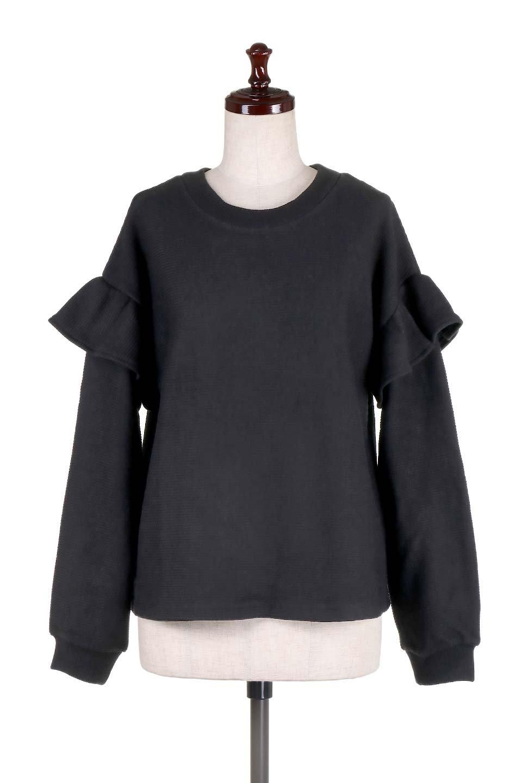 FrillSleeveTopフリルスリーブ・トップス大人カジュアルに最適な海外ファッションのothers(その他インポートアイテム)のトップスやニット・セーター。人気のフリルスリーブのニット・トップス。二重織りのリブニット生地が特徴で、細かい縞々が目を引きます。/main-10