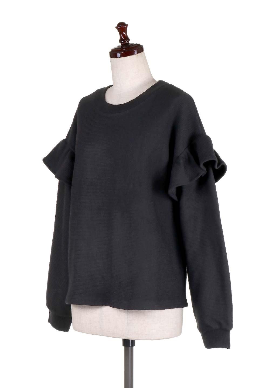 FrillSleeveTopフリルスリーブ・トップス大人カジュアルに最適な海外ファッションのothers(その他インポートアイテム)のトップスやニット・セーター。人気のフリルスリーブのニット・トップス。二重織りのリブニット生地が特徴で、細かい縞々が目を引きます。/main-11