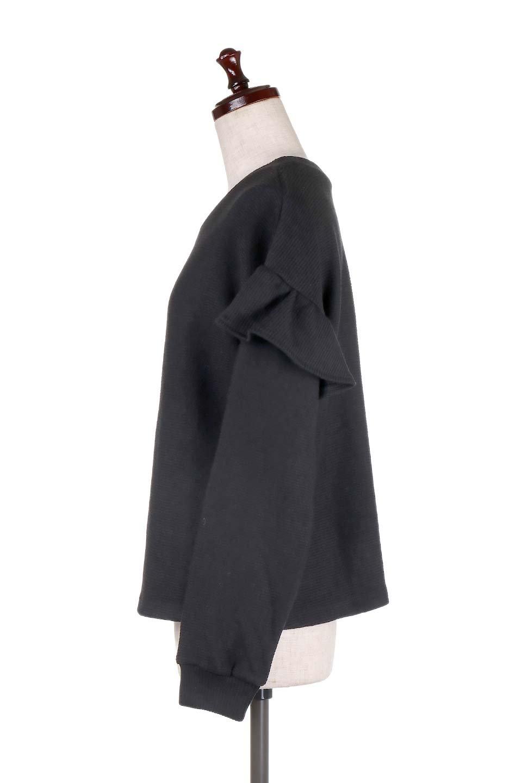 FrillSleeveTopフリルスリーブ・トップス大人カジュアルに最適な海外ファッションのothers(その他インポートアイテム)のトップスやニット・セーター。人気のフリルスリーブのニット・トップス。二重織りのリブニット生地が特徴で、細かい縞々が目を引きます。/main-12