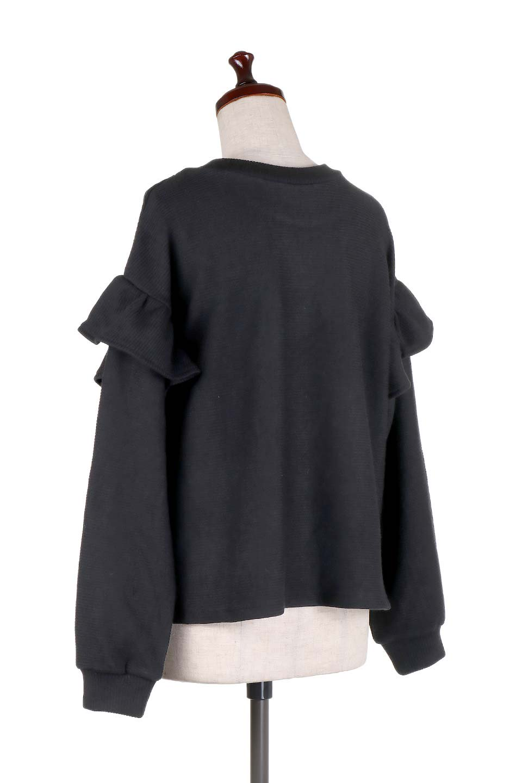 FrillSleeveTopフリルスリーブ・トップス大人カジュアルに最適な海外ファッションのothers(その他インポートアイテム)のトップスやニット・セーター。人気のフリルスリーブのニット・トップス。二重織りのリブニット生地が特徴で、細かい縞々が目を引きます。/main-13