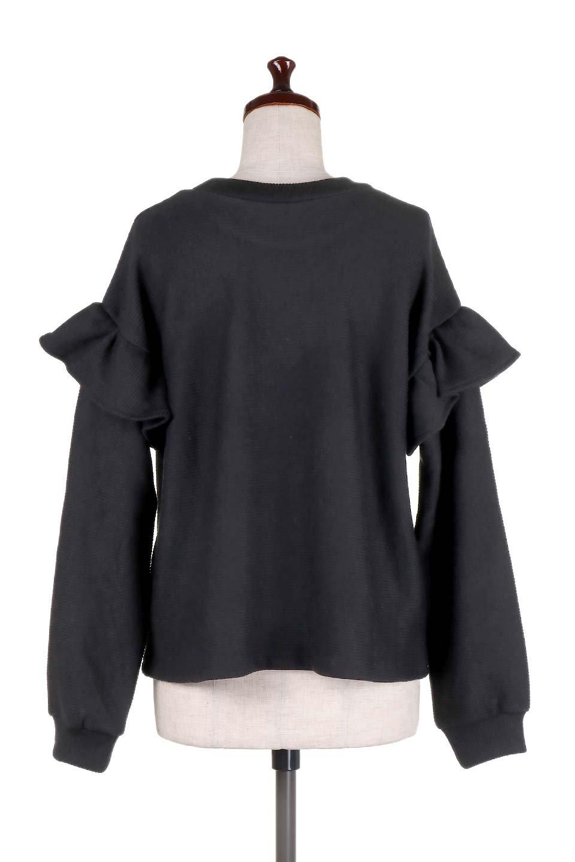 FrillSleeveTopフリルスリーブ・トップス大人カジュアルに最適な海外ファッションのothers(その他インポートアイテム)のトップスやニット・セーター。人気のフリルスリーブのニット・トップス。二重織りのリブニット生地が特徴で、細かい縞々が目を引きます。/main-14