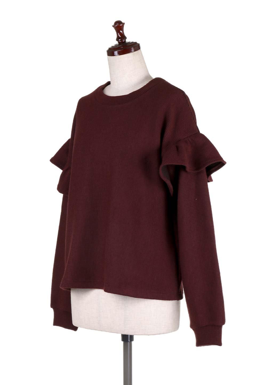 FrillSleeveTopフリルスリーブ・トップス大人カジュアルに最適な海外ファッションのothers(その他インポートアイテム)のトップスやニット・セーター。人気のフリルスリーブのニット・トップス。二重織りのリブニット生地が特徴で、細かい縞々が目を引きます。/main-16