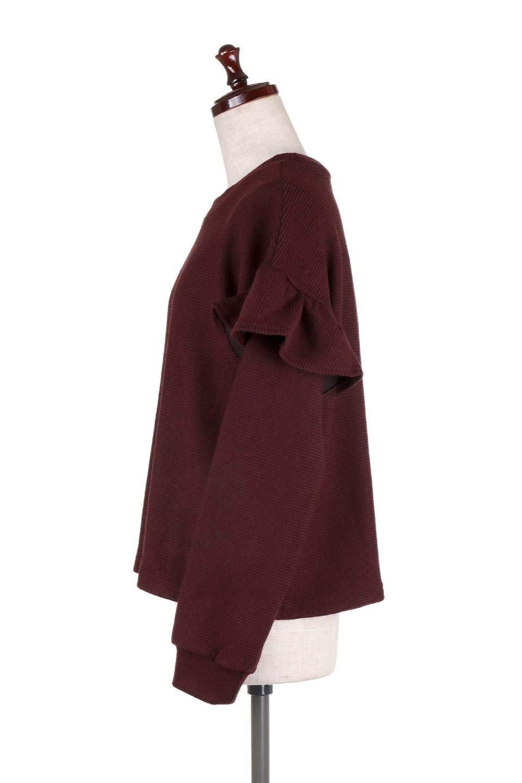 FrillSleeveTopフリルスリーブ・トップス大人カジュアルに最適な海外ファッションのothers(その他インポートアイテム)のトップスやニット・セーター。人気のフリルスリーブのニット・トップス。二重織りのリブニット生地が特徴で、細かい縞々が目を引きます。/main-17