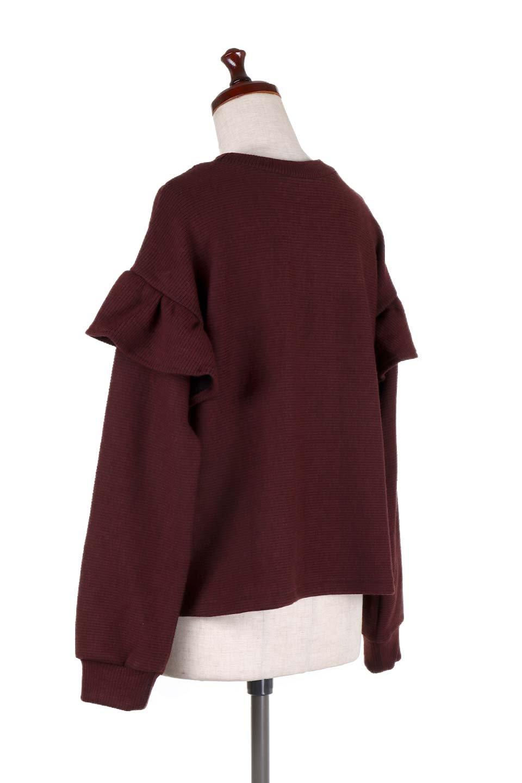 FrillSleeveTopフリルスリーブ・トップス大人カジュアルに最適な海外ファッションのothers(その他インポートアイテム)のトップスやニット・セーター。人気のフリルスリーブのニット・トップス。二重織りのリブニット生地が特徴で、細かい縞々が目を引きます。/main-18