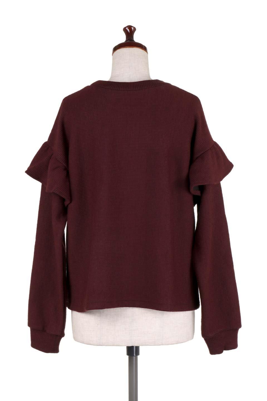 FrillSleeveTopフリルスリーブ・トップス大人カジュアルに最適な海外ファッションのothers(その他インポートアイテム)のトップスやニット・セーター。人気のフリルスリーブのニット・トップス。二重織りのリブニット生地が特徴で、細かい縞々が目を引きます。/main-19