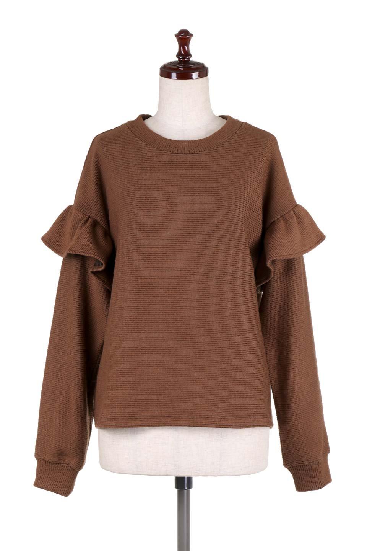 FrillSleeveTopフリルスリーブ・トップス大人カジュアルに最適な海外ファッションのothers(その他インポートアイテム)のトップスやニット・セーター。人気のフリルスリーブのニット・トップス。二重織りのリブニット生地が特徴で、細かい縞々が目を引きます。/main-20