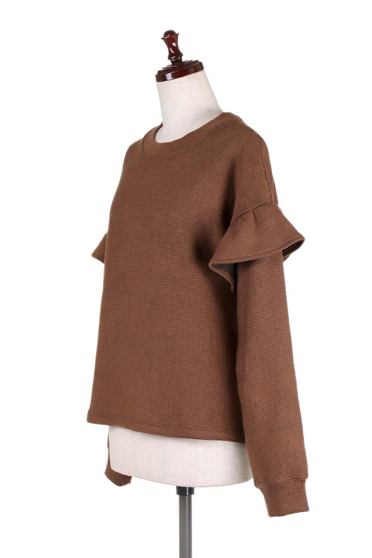 FrillSleeveTopフリルスリーブ・トップス大人カジュアルに最適な海外ファッションのothers(その他インポートアイテム)のトップスやニット・セーター。人気のフリルスリーブのニット・トップス。二重織りのリブニット生地が特徴で、細かい縞々が目を引きます。/main-21