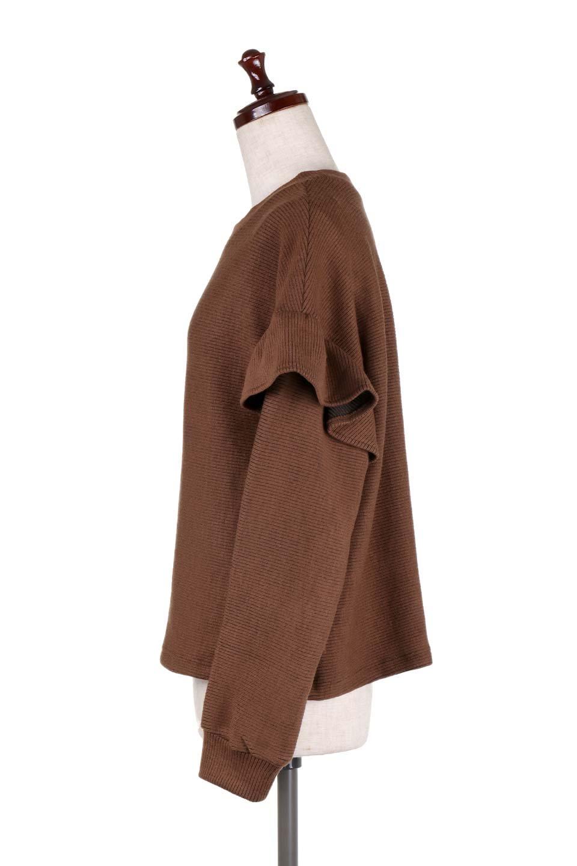 FrillSleeveTopフリルスリーブ・トップス大人カジュアルに最適な海外ファッションのothers(その他インポートアイテム)のトップスやニット・セーター。人気のフリルスリーブのニット・トップス。二重織りのリブニット生地が特徴で、細かい縞々が目を引きます。/main-22
