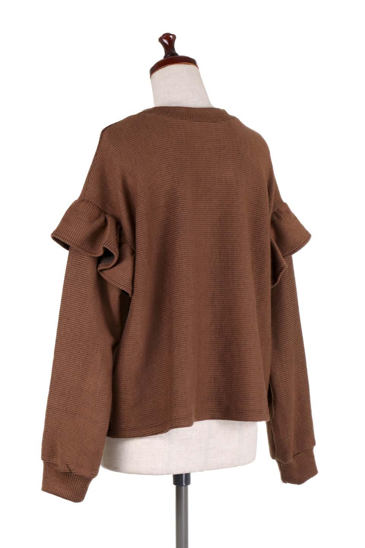 FrillSleeveTopフリルスリーブ・トップス大人カジュアルに最適な海外ファッションのothers(その他インポートアイテム)のトップスやニット・セーター。人気のフリルスリーブのニット・トップス。二重織りのリブニット生地が特徴で、細かい縞々が目を引きます。/main-23
