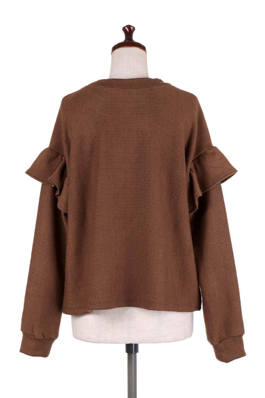 FrillSleeveTopフリルスリーブ・トップス大人カジュアルに最適な海外ファッションのothers(その他インポートアイテム)のトップスやニット・セーター。人気のフリルスリーブのニット・トップス。二重織りのリブニット生地が特徴で、細かい縞々が目を引きます。/main-24