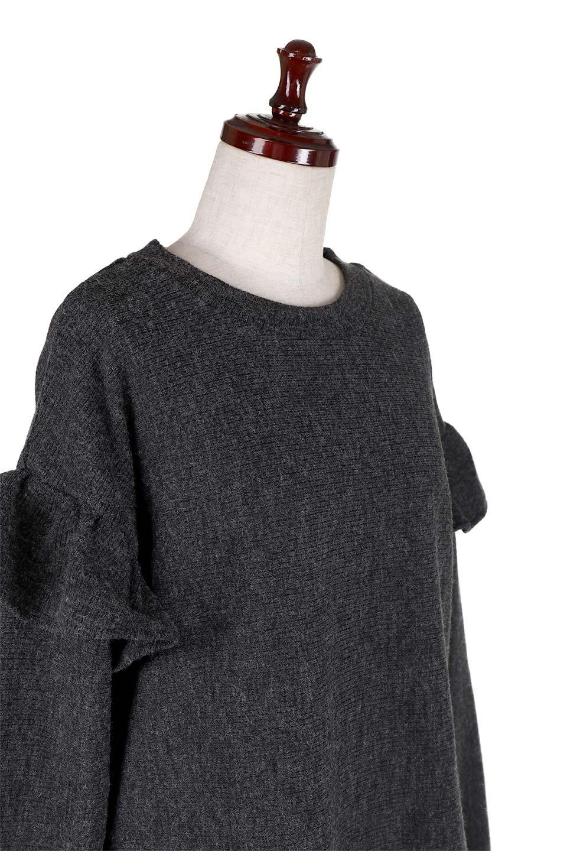 FrillSleeveTopフリルスリーブ・トップス大人カジュアルに最適な海外ファッションのothers(その他インポートアイテム)のトップスやニット・セーター。人気のフリルスリーブのニット・トップス。二重織りのリブニット生地が特徴で、細かい縞々が目を引きます。/main-5