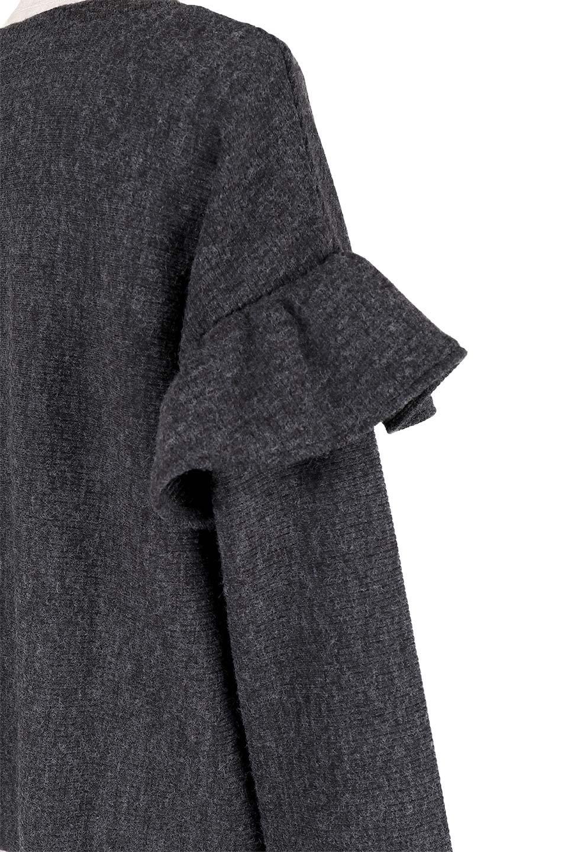 FrillSleeveTopフリルスリーブ・トップス大人カジュアルに最適な海外ファッションのothers(その他インポートアイテム)のトップスやニット・セーター。人気のフリルスリーブのニット・トップス。二重織りのリブニット生地が特徴で、細かい縞々が目を引きます。/main-7