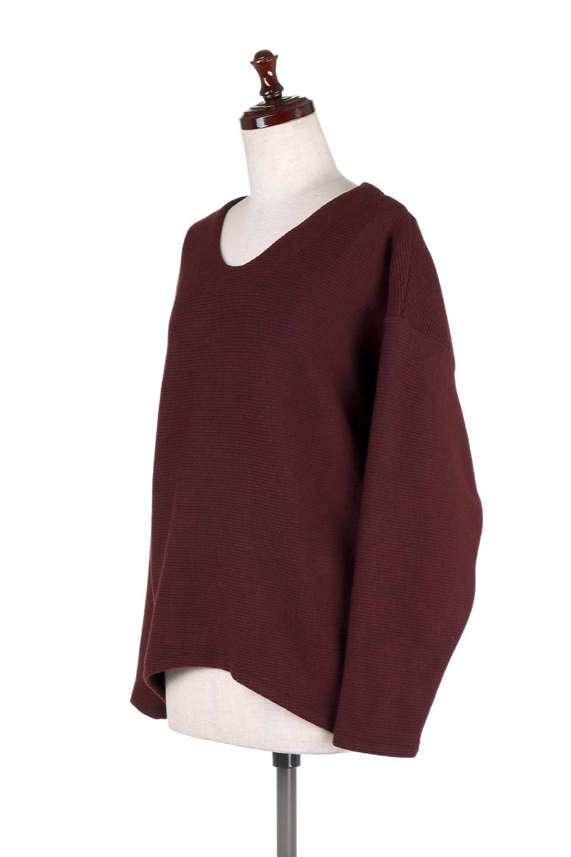 DolmanSleeveCocoonTopドルマンスリーブ・トップス大人カジュアルに最適な海外ファッションのothers(その他インポートアイテム)のトップスやニット・セーター。シンプルデザインのドルマンスリーブトップス。二重織りのリブニット生地が特徴で、細かい縞々が目を引きます。/main-16